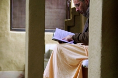 Swami Tripurari studying